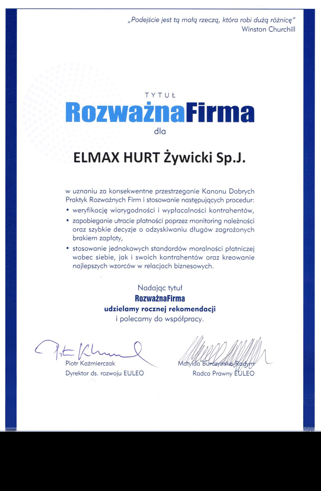 Certyfikat Rozważna Firma ELMAX